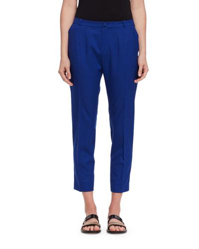 Cropped Wool Pants, Blue Boho