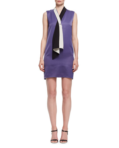 Tie-Neck Sleeveless Shift Dress, Lilac