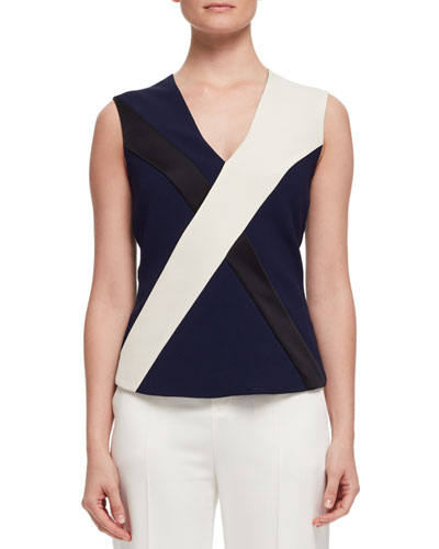 Sleeveless Crisscross Blouse, Navy