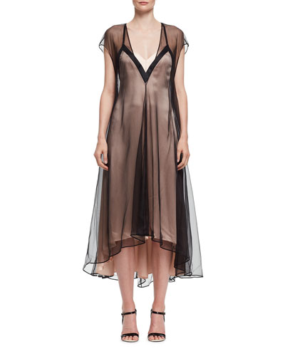 Slip Dress with Contrast Overlay, Black