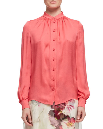 Band-Collar Silk Blouse, Rose