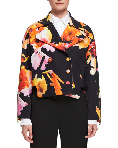 Orchid-Print Silk Jacket, Orange/Black