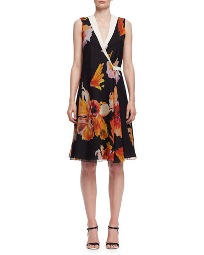 Floral-Print Sleeveless Wrap Dress, Orange/Black
