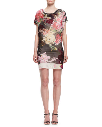 Floral Cap-Sleeve Cowl-Neck Dress, Black/Multi