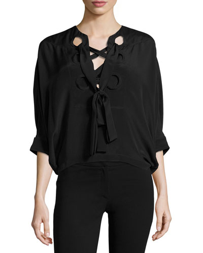 Silk Batwing Tie-Neck Top, Black