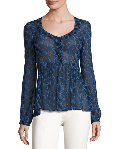 Python-Print Scoop-Neck Blouse, Blue Allium