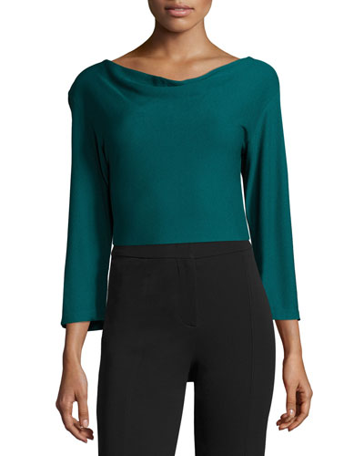 Knit Cowl-Neck Top, Green