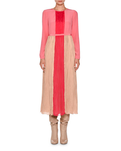 Long-Sleeve Pleated Charmeuse Midi Dress, Nude/Hibiscus/Pink
