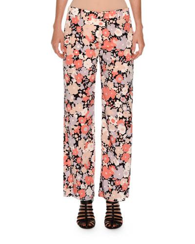 Floral-Print Wide-Leg Pants, Coral Floral