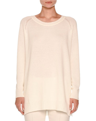 Knit Cashmere Pullover Sweater, White