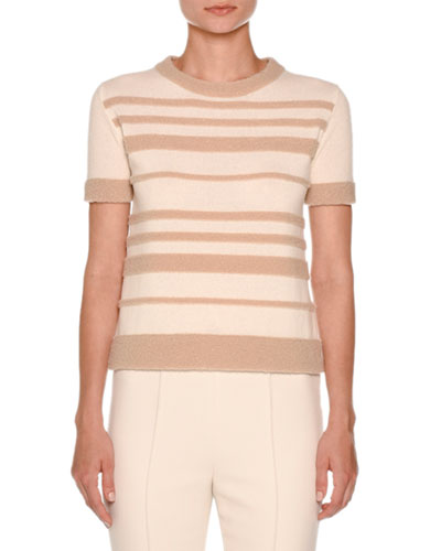 Short-Sleeve Striped Boucle Sweater, White Nude