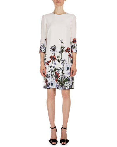 Emma 3/4-Sleeve Floral-Print Dress, White/Red