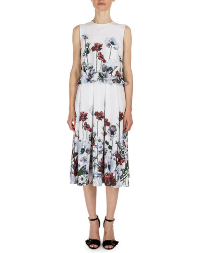 Muriel Floral-Print Midi Dress, White/Red