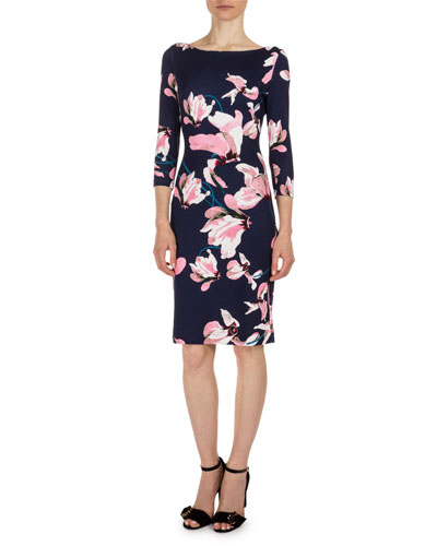 Reese 3/4-Sleeve Floral-Print Dress, Navy/Pink