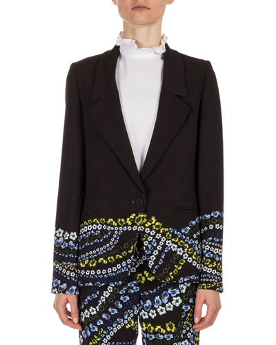 Alyse Floral-Print One-Button Jacket, Black/Multi