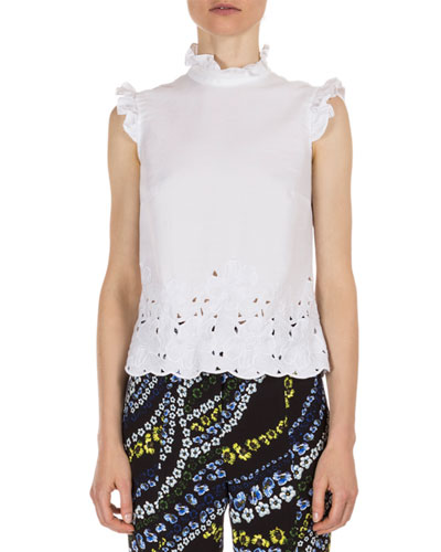 Mika Ruffled Laser-Cut Blouse, White