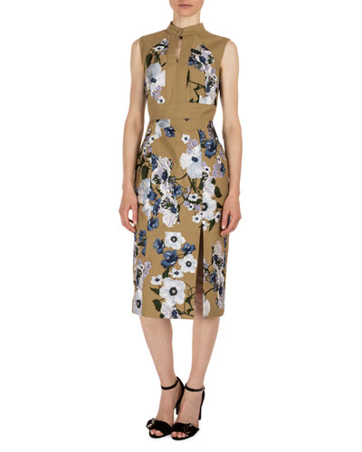 Delphine Floral-Print Keyhole Dress, Khaki