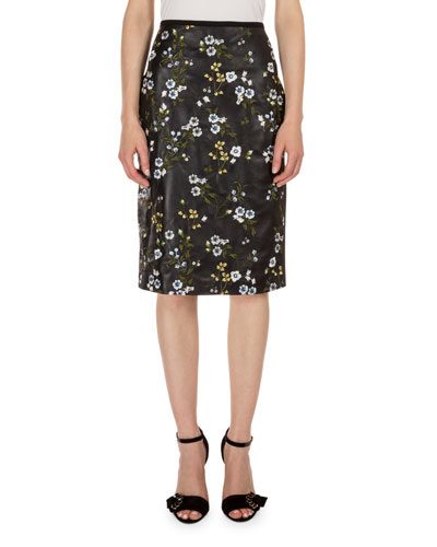 Aysha Floral-Print Leather Pencil Skirt, Black