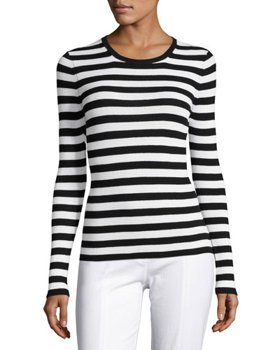 Striped Long-Sleeve Crewneck Sweater, Black/White
