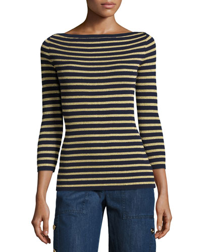 Metallic-Stripe Boat-Neck Sweater, Blue/Gold