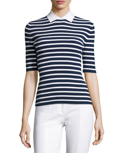 Striped Half-Sleeve Sweater w/Point Collar, Navy