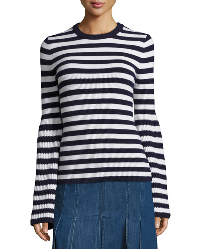 Striped Crewneck Cashmere Sweater, Navy