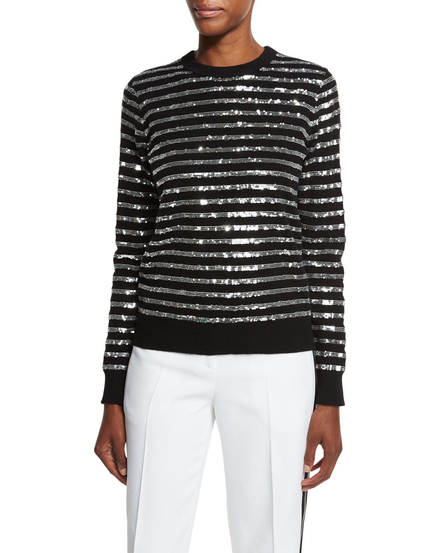 Sequin-Striped Crewneck Sweater, Black