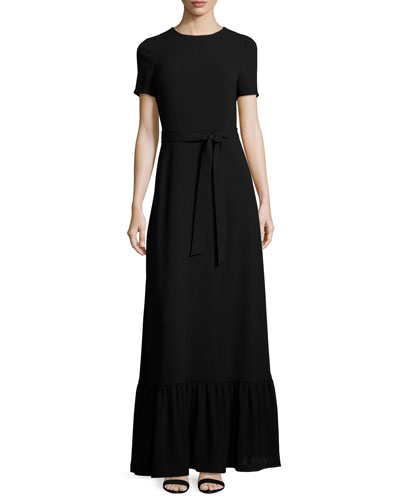 Short-Sleeve Crewneck Maxi Dress, Black