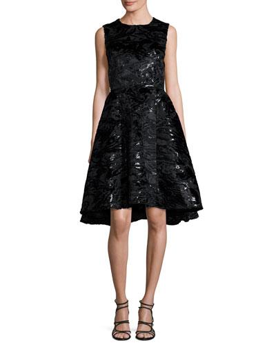 Sleeveless Sequined Jacquard Party Dress, Black
