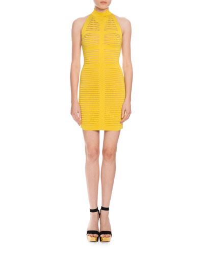 Stripe-Knit Halter Dress, Yellow