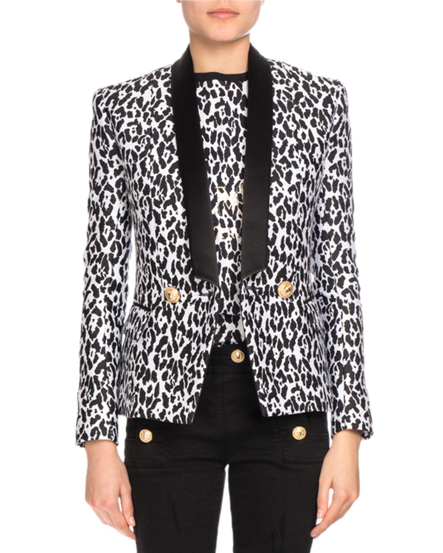 Leopard-Print Tuxedo Blazer