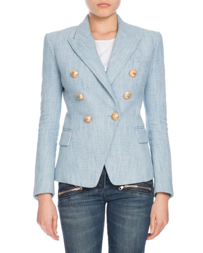 Double-Breasted Chambray Tweed Blazer, Denim