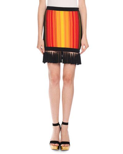 Sunset Fringe Mini Skirt, Red/Orange