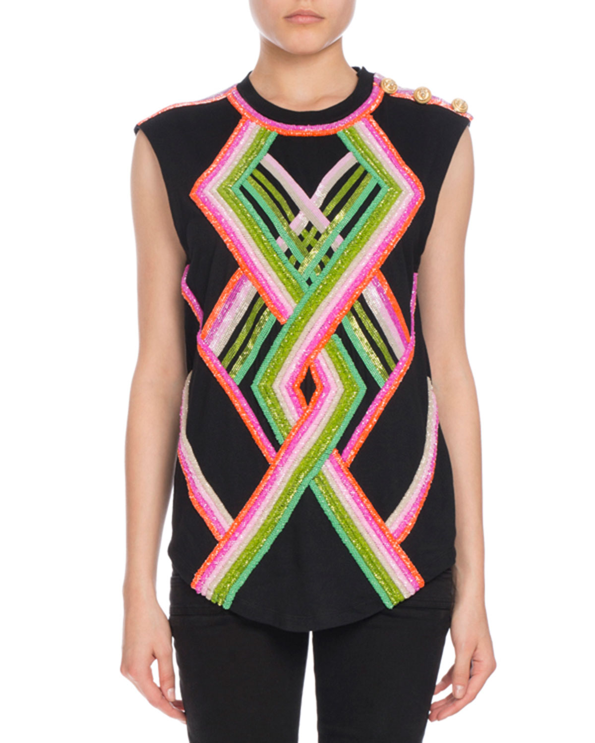 Geometric Sequin-Embroidered Top, Multi