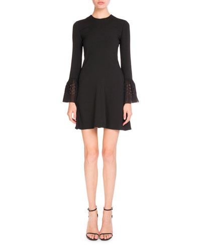 Eyelet Bell-Sleeve Sable Dress, Black