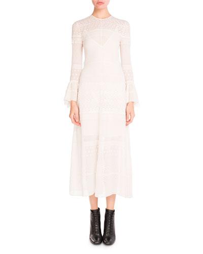 Bell-Sleeve Eyelet Midi Dress, White