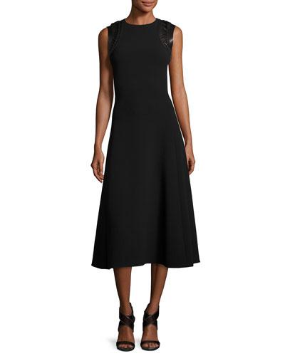 Midi Dress with Whipstitch Leather Trim, Black