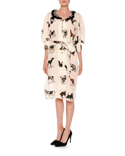 Dog-Print Elbow-Sleeve Silk Dress, Multi