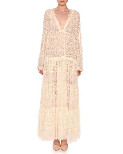Long-Sleeve Boho Lace Maxi Dress, Ivory