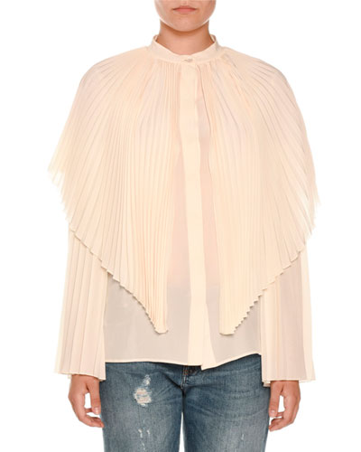 Pleated Silk Capelet Blouse, Ivory