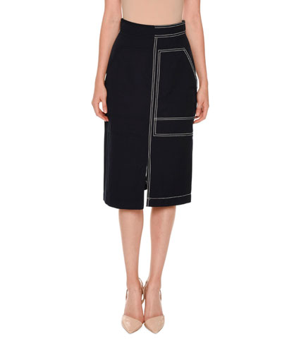 Topstitched Pencil Skirt, Navy