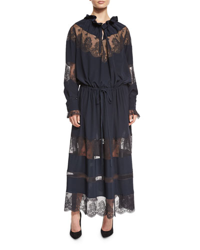 Lace-Trim Boho Maxi Dress, Navy