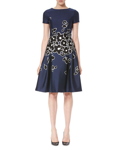 Short-Sleeve Floral-Embroidered Dress, Dark Navy/Black