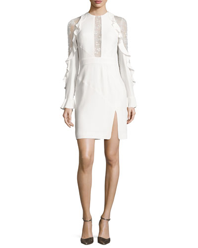 Ruffled Lace-Inset Long-Sleeve Dress, Porcelain
