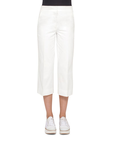 Madison Straight-Leg Cropped Pants, Cream