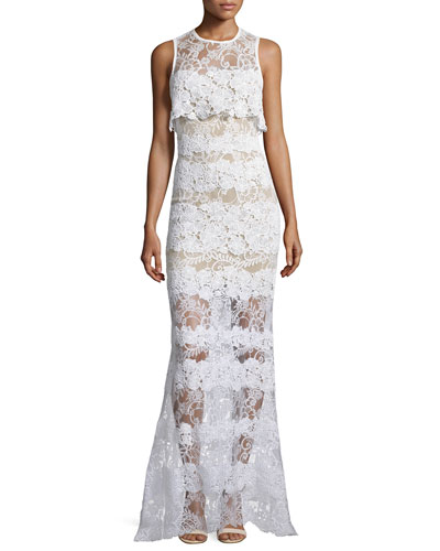 Sleeveless Lace Popover Gown, Ivory