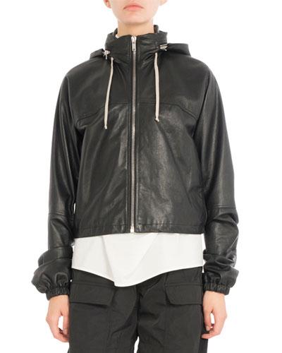 Cropped Leather Hoodie Jacket, Black