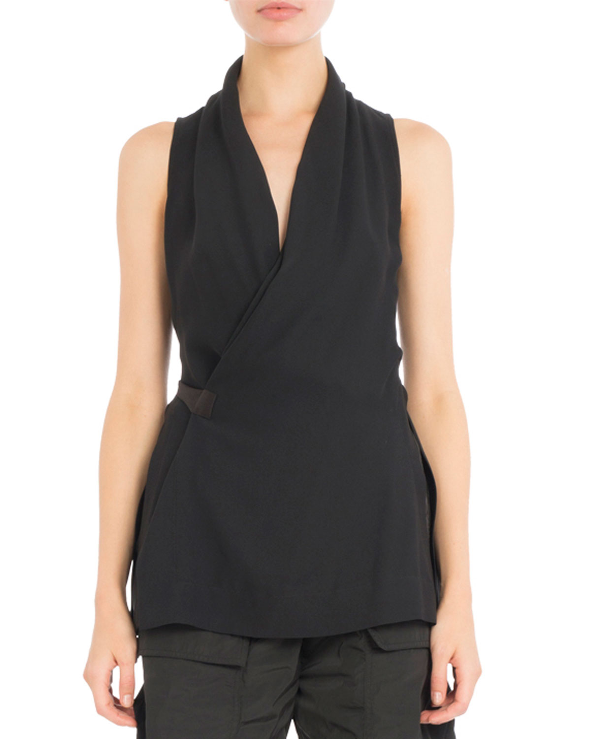 Side-Tie Sleeveless Wrap Blouse, Black