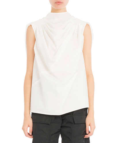 Poplin Mock-Neck Top, White