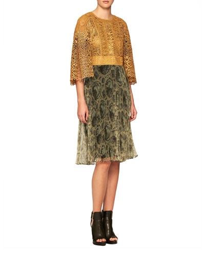 Metallic Macrame Combo Dress, Gold